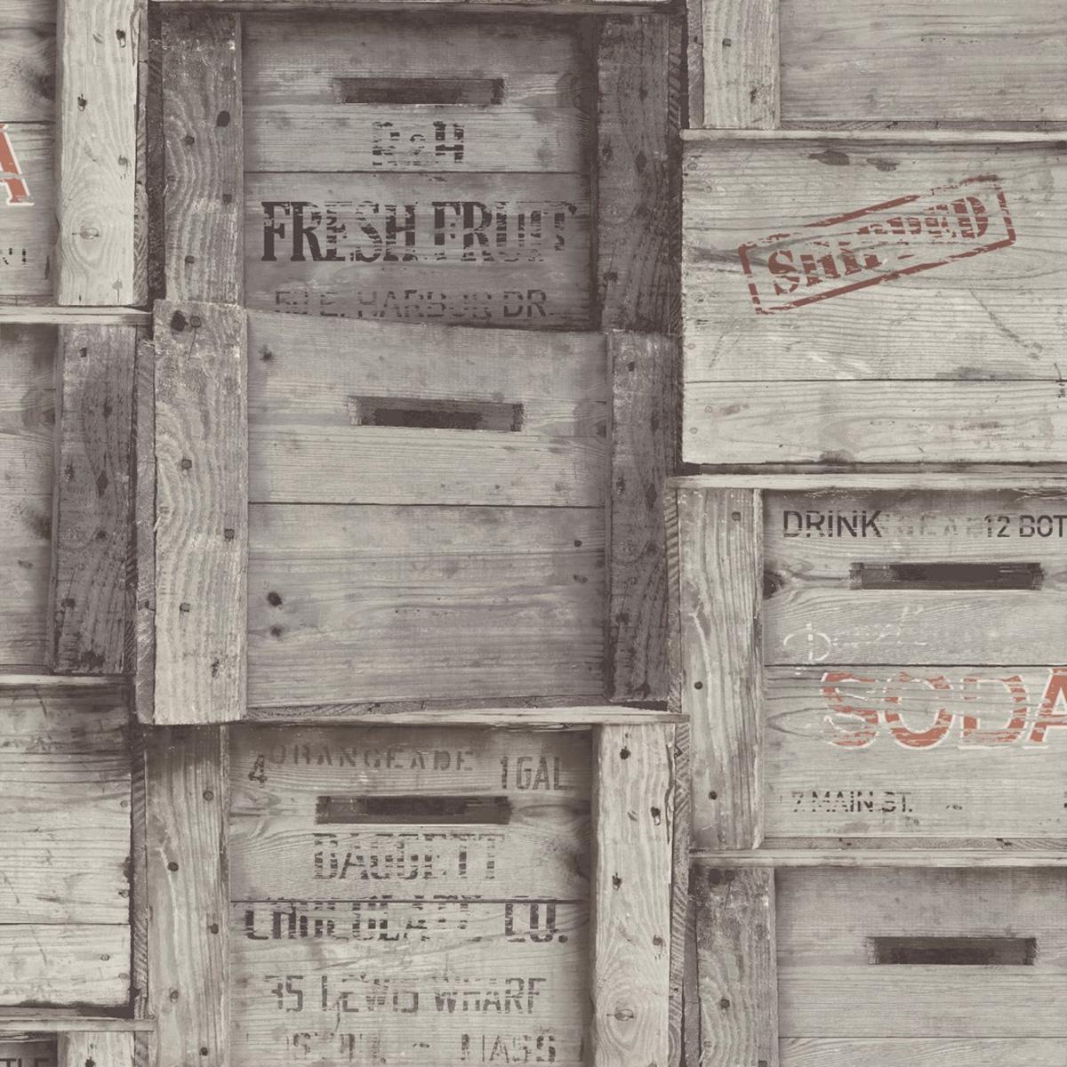 Wood Crates Wallpaper Grey Fine Decor FD40944