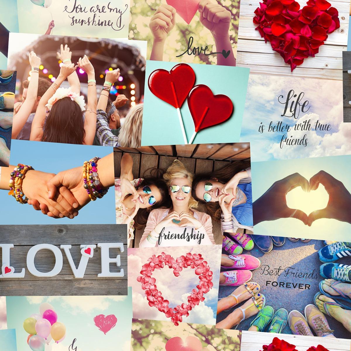 Love Hearts Festival Collage Wallpaper Fine Decor FD41916