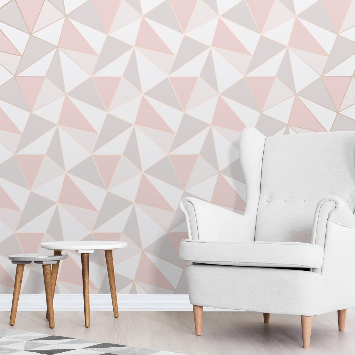 Apex Geometric Wallpaper Rose Gold Fine Decor