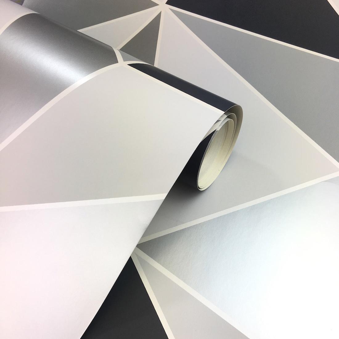 Apex Geometric Wallpaper Black and Silver Fine Decor