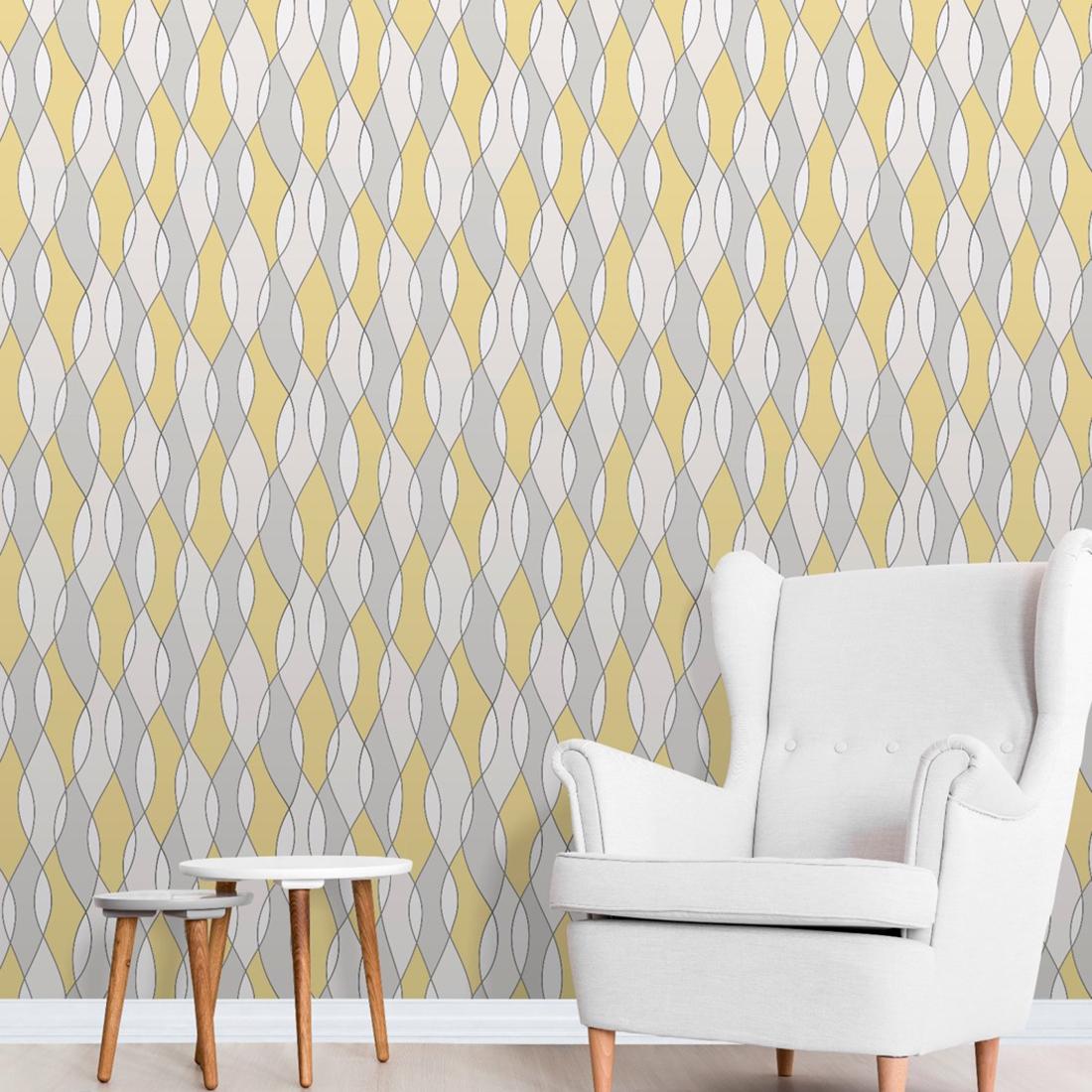 Apex Wave Geometric Wallpaper Yellow Fine Decor FD42170