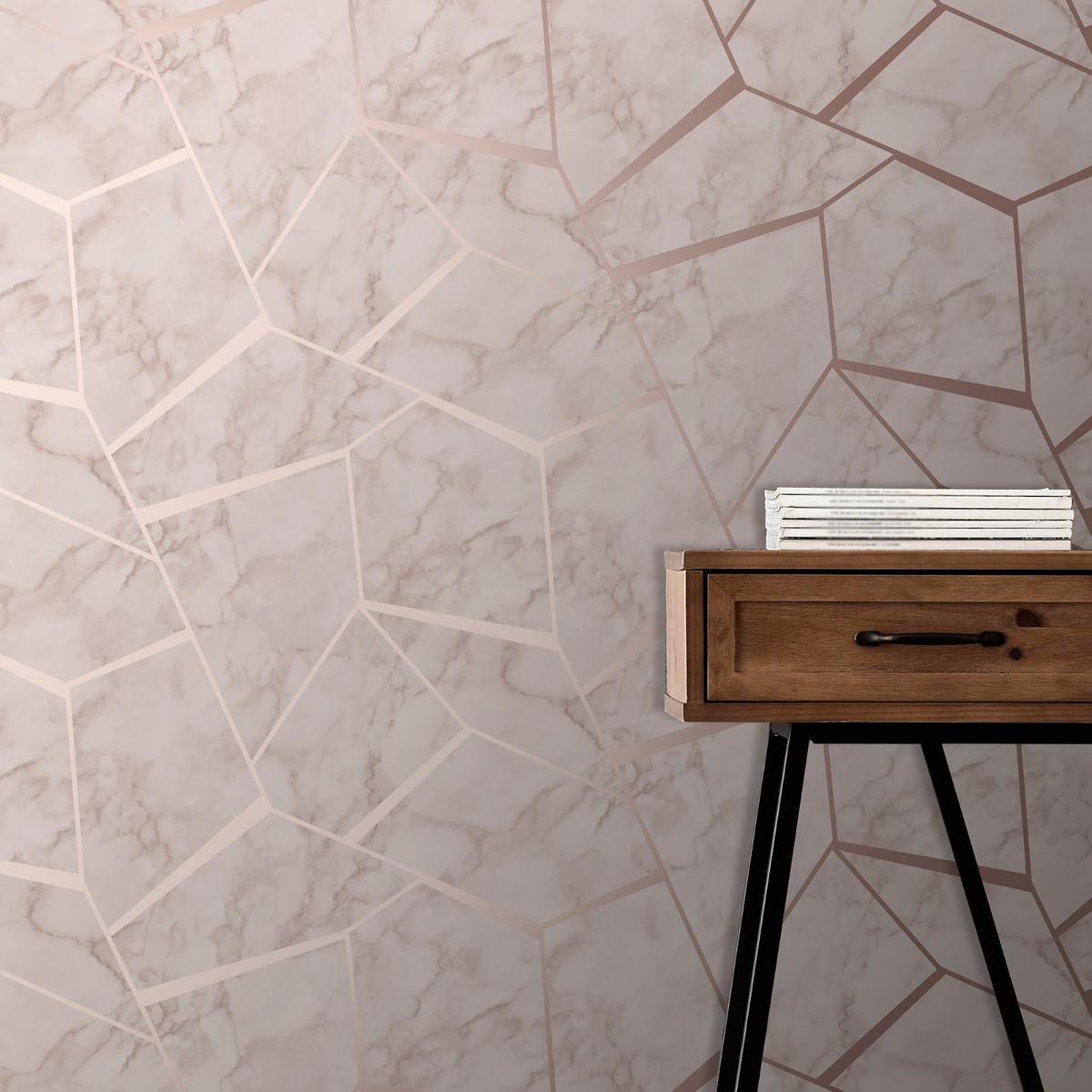 Fractal Geometric Marble Wallpaper Rose Gold - Fine Decor