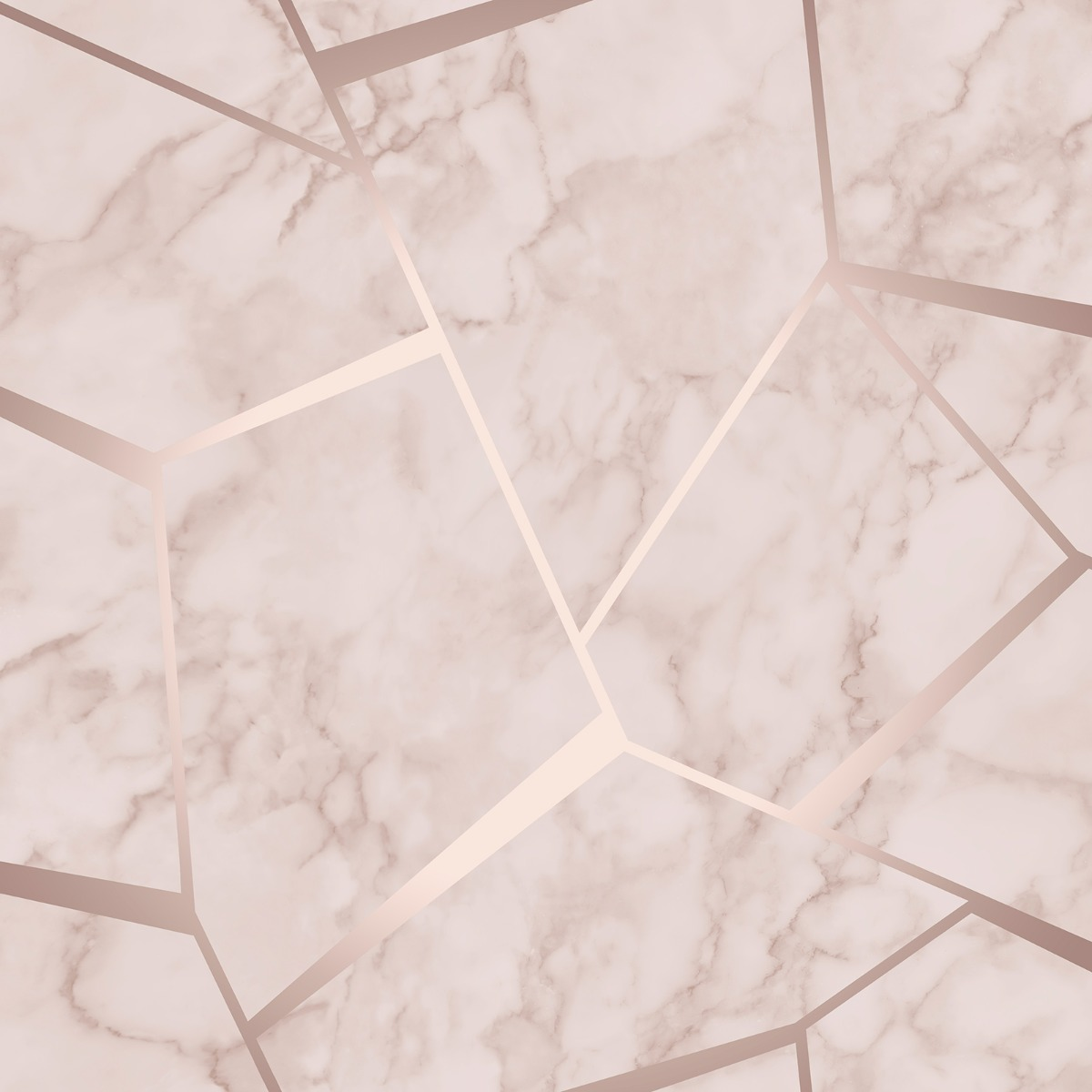 Fractal Geometric Marble Wallpaper Rose Gold Metallic