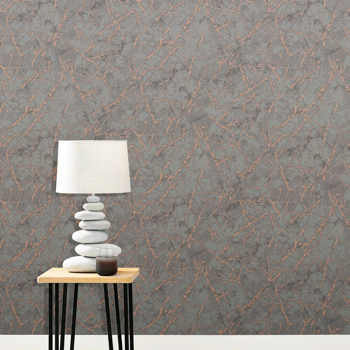 Metallic Marble Wallpaper Charcoal and Copper Fine Décor