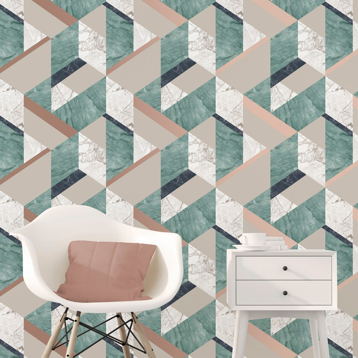 Marblesque Geometric Marble Wallpaper Emerald Green and Gold