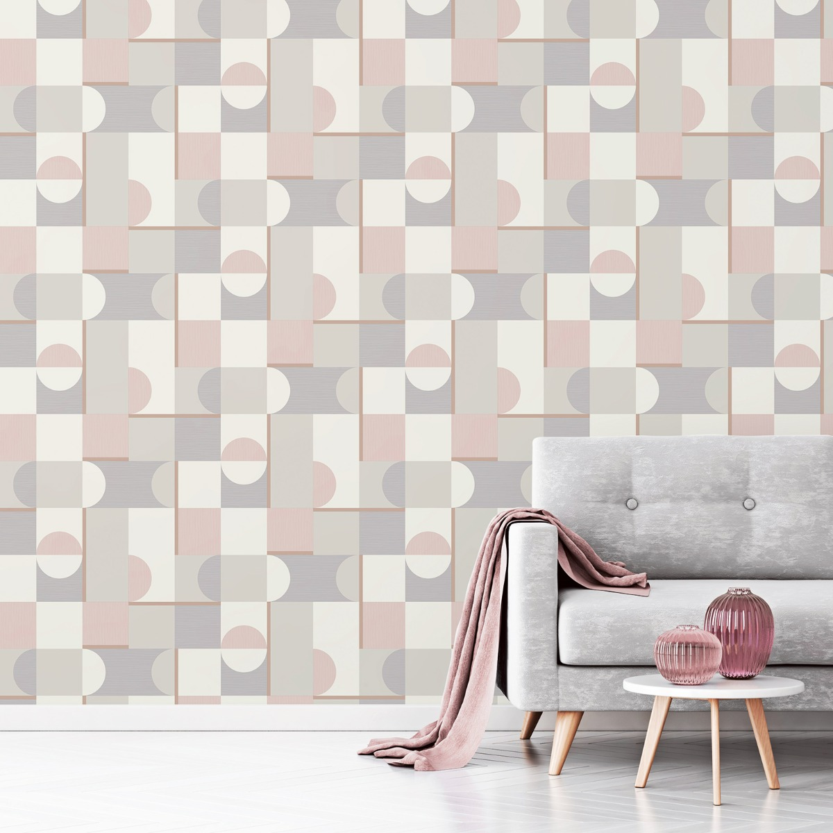 Marino Oslo Geometric Wallpaper Blush Fine Decor FD42386