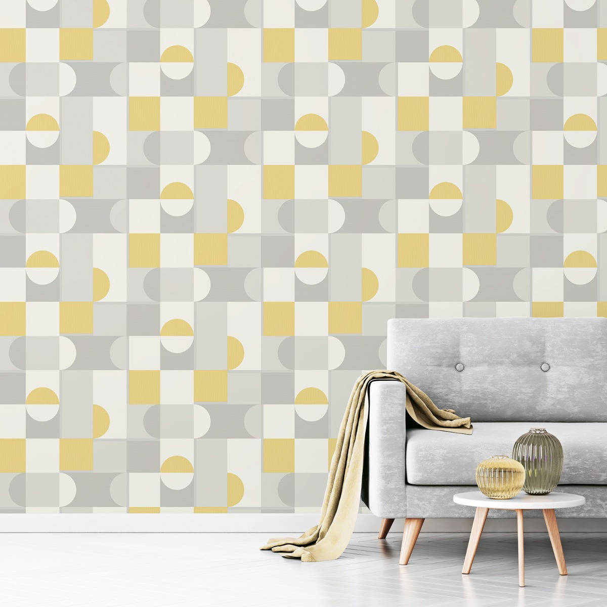 Marino Oslo Geometric Wallpaper Mustard Fine Decor FD42388