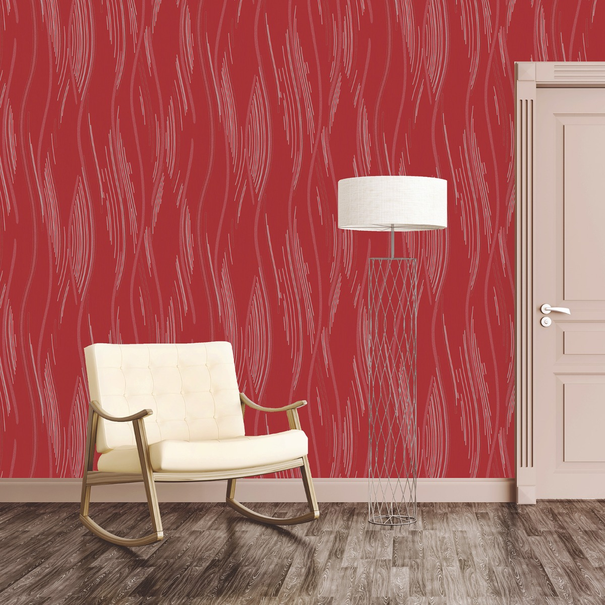 Love Your Walls Shimmer Wave Wallpaper Red