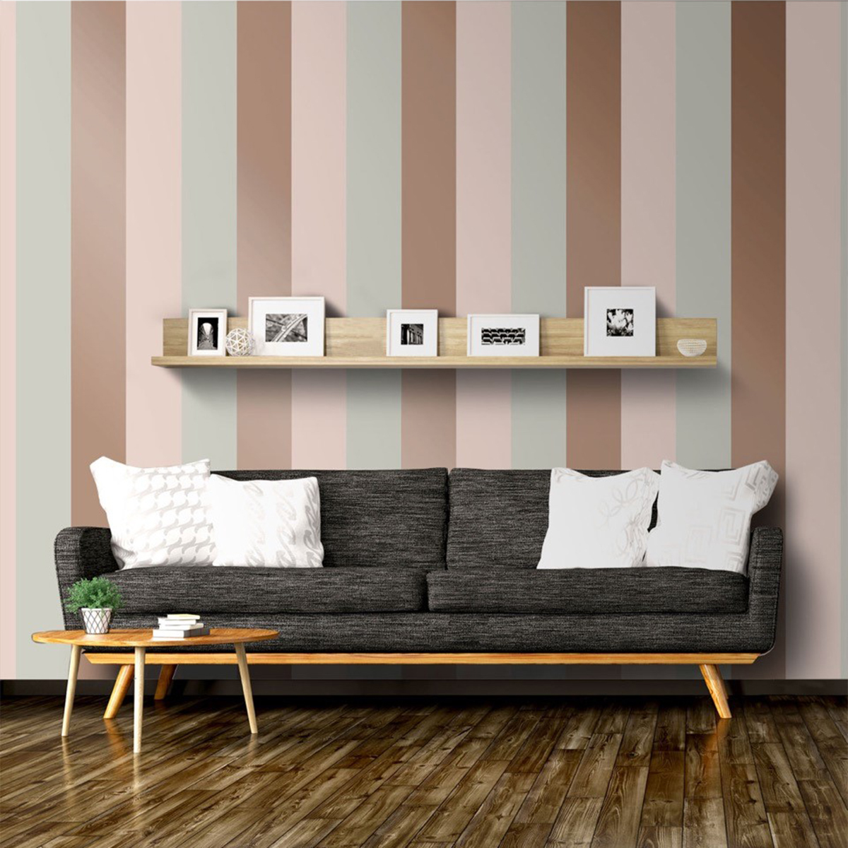 Stripe Wallpaper Grey, Pink & Rose Gold Direct Wallpapers E40903