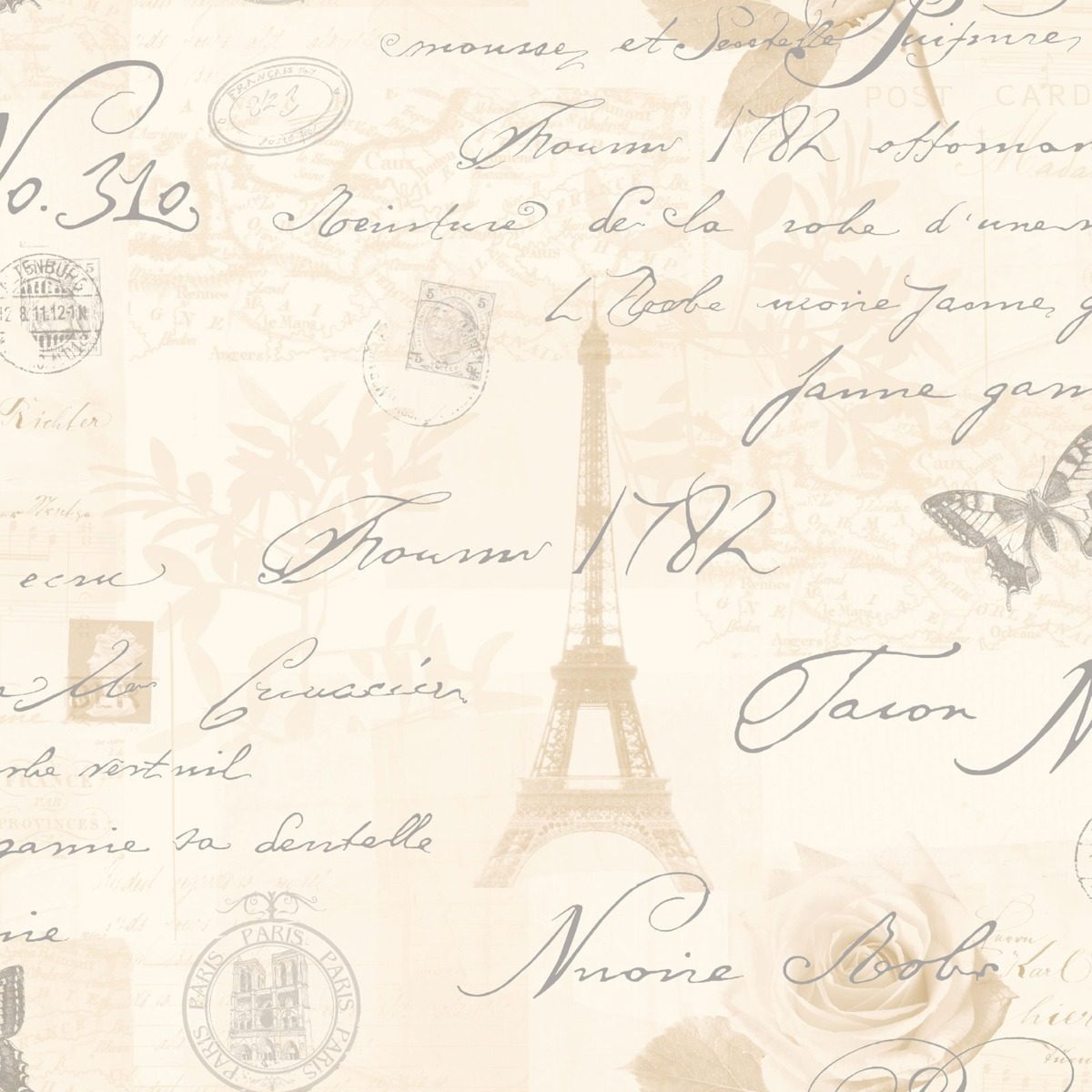 Calligraphy Paris Postcard Wallpaper Neutral Holden 97750