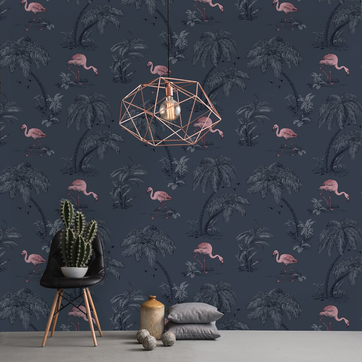 Flamingo Lake Wallpaper Midnight Blue Holden