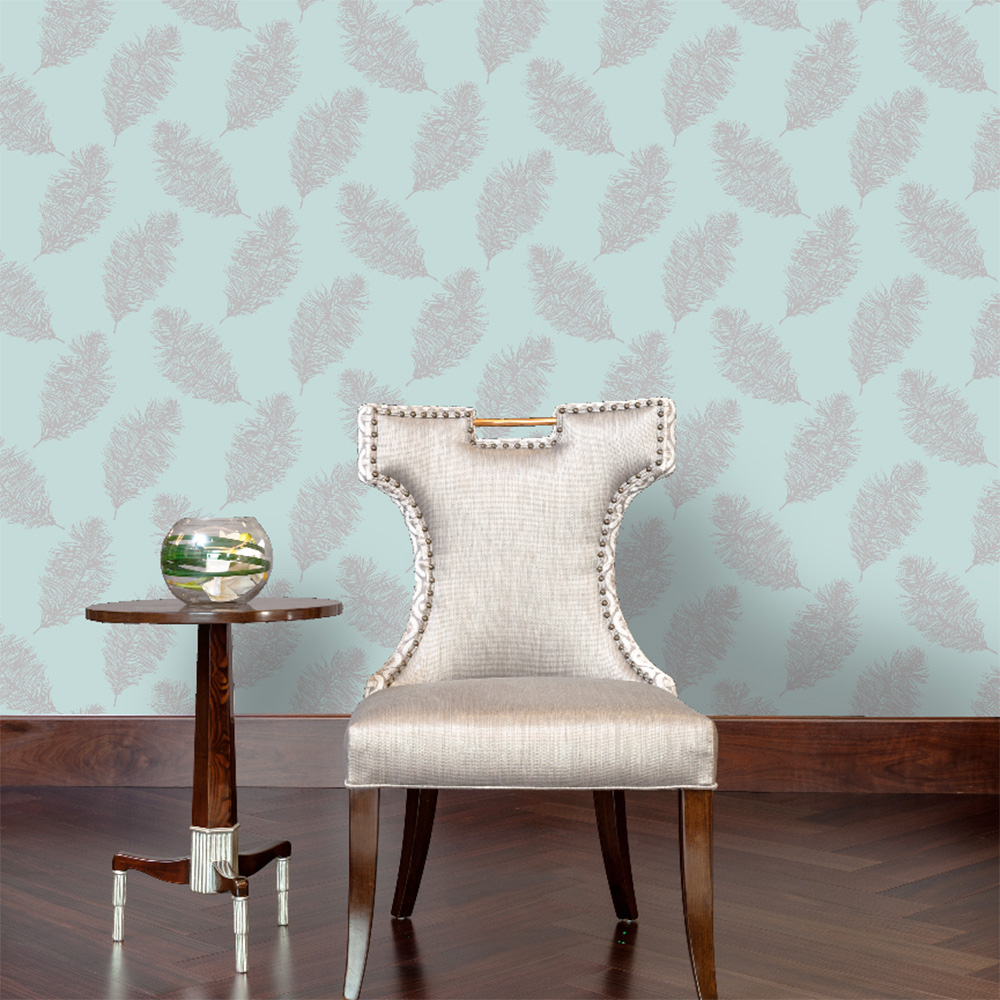 Fawning Feather Wallpaper Silver / Teal Holden