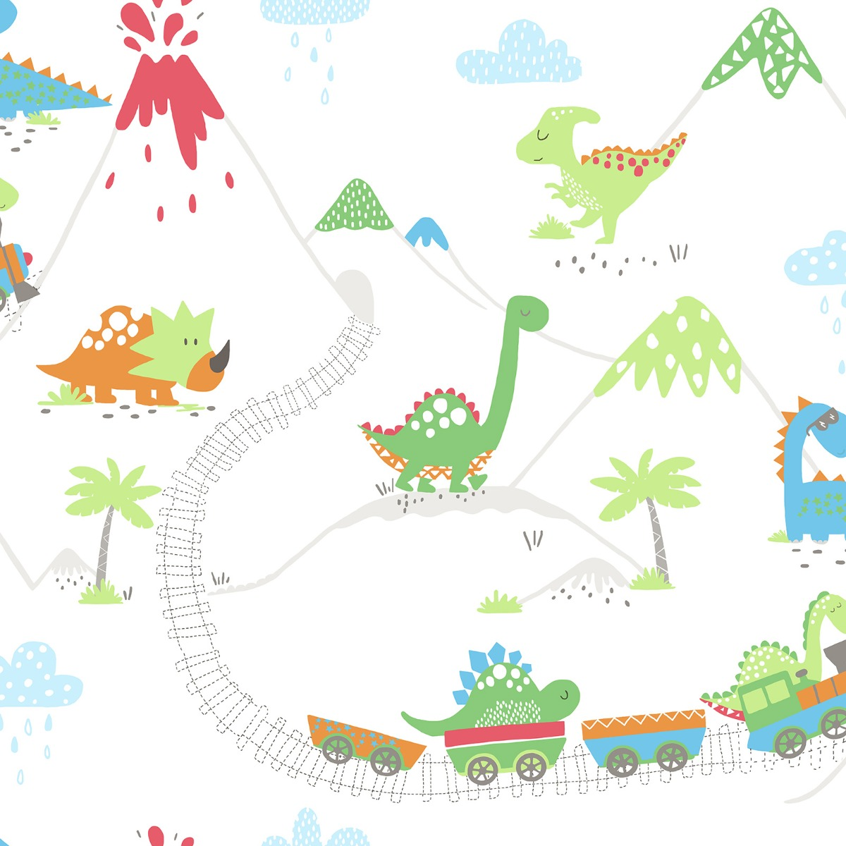 Dino Town Dinosaur Wallpaper Multi Holden 12530