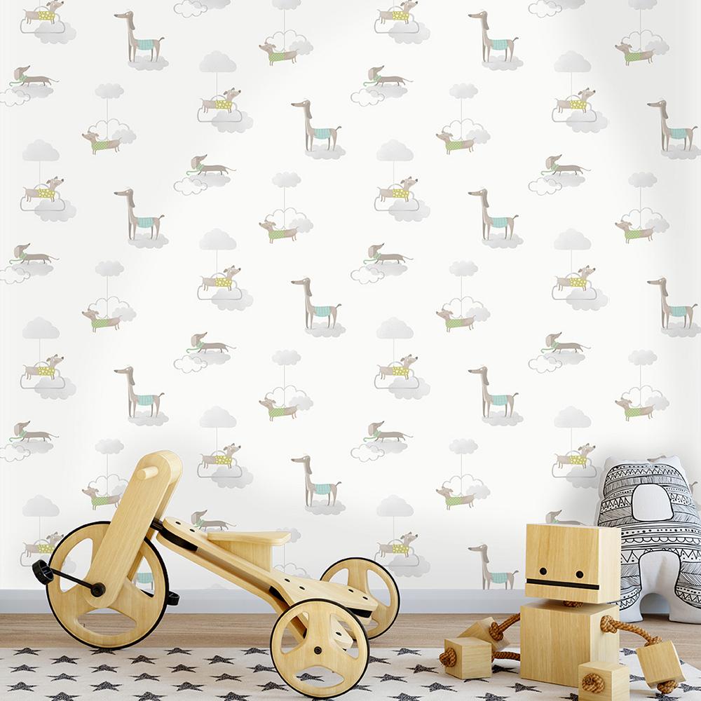 Walkies Sausage Dog Wallpaper Grey / White Holden 12551