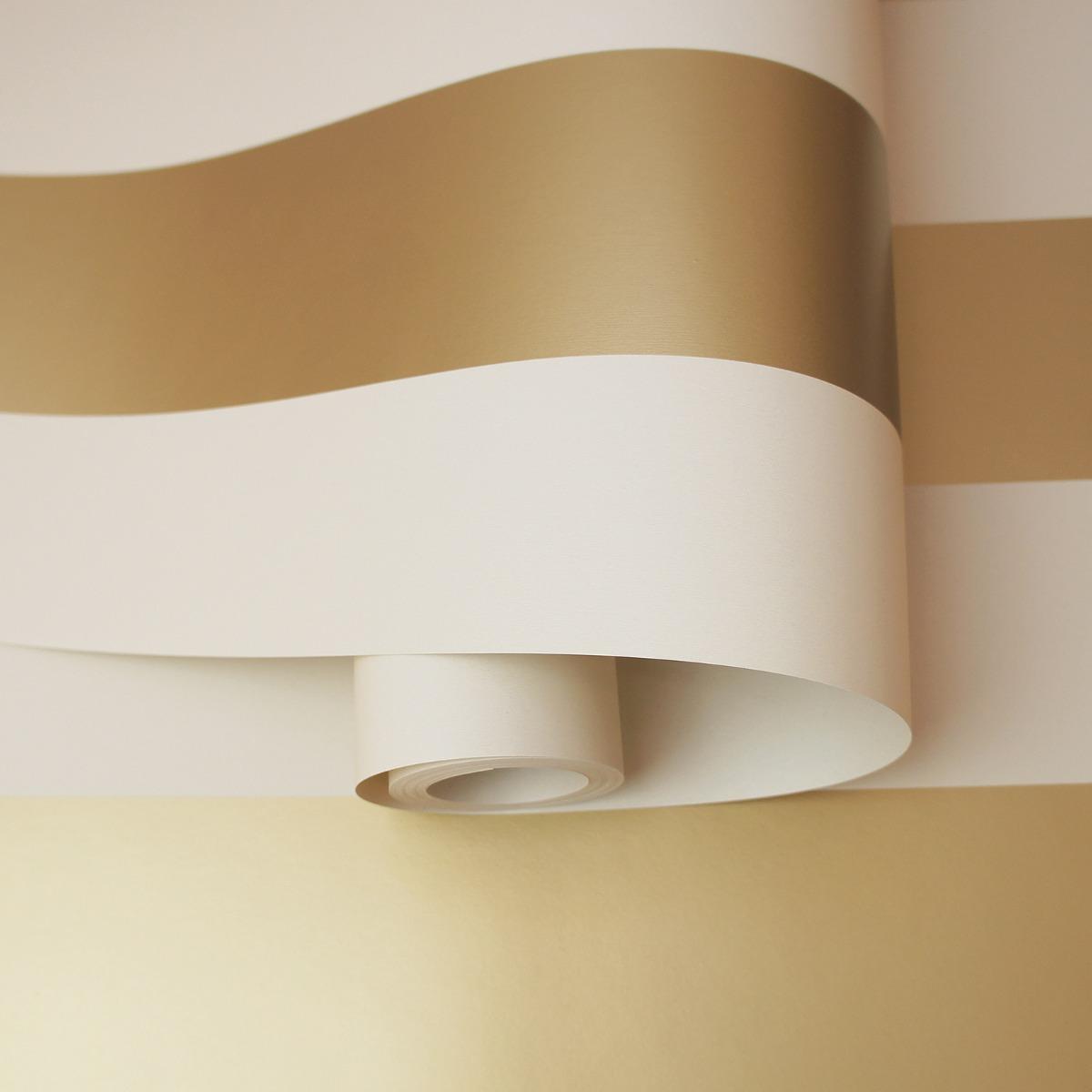 Dillan Stripe Wallpaper Cream / Gold Holden 12761