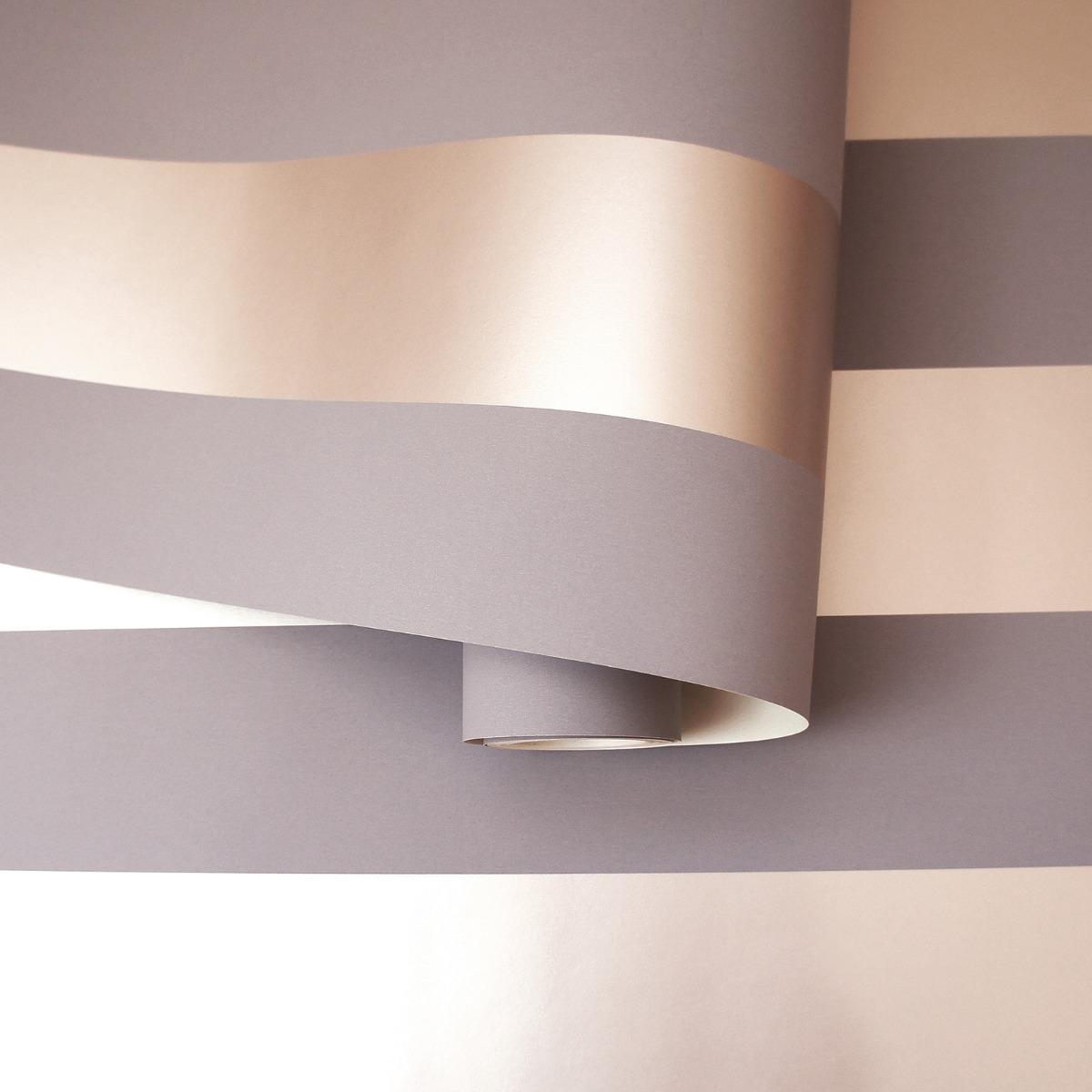 Dillan Stripe Wallpaper Grey / Rose Gold Holden 12762