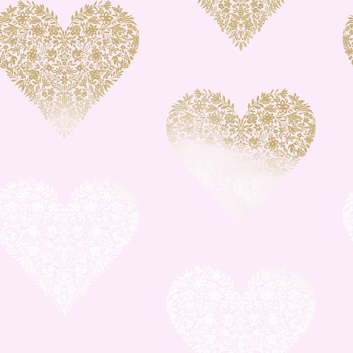 Floral Heart Wallpaper Pink / Gold Holden 12721