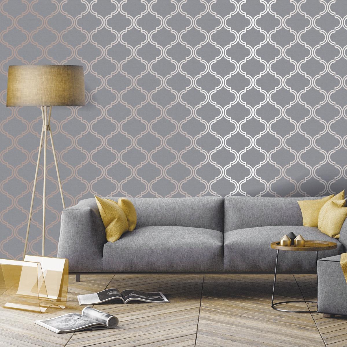 Glistening Geo Trellis Wallpaper