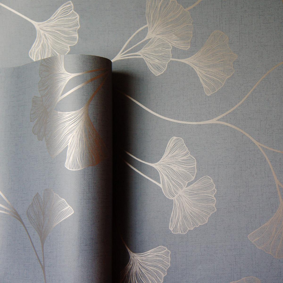 Glistening Ginkgo Wallpaper Grey / Rose Gold Holden 12702