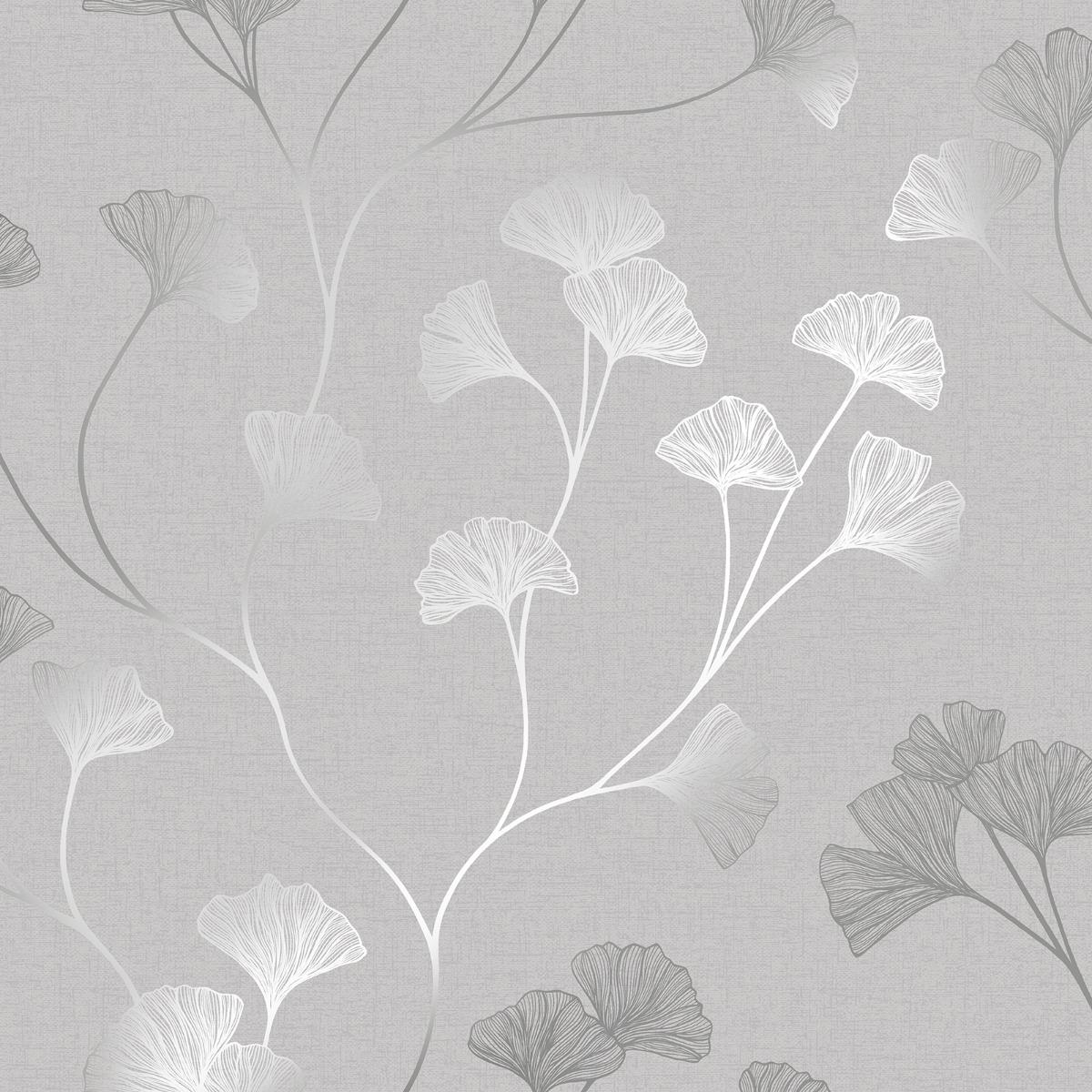 Glistening Ginkgo Wallpaper Grey / Silver Holden 12700