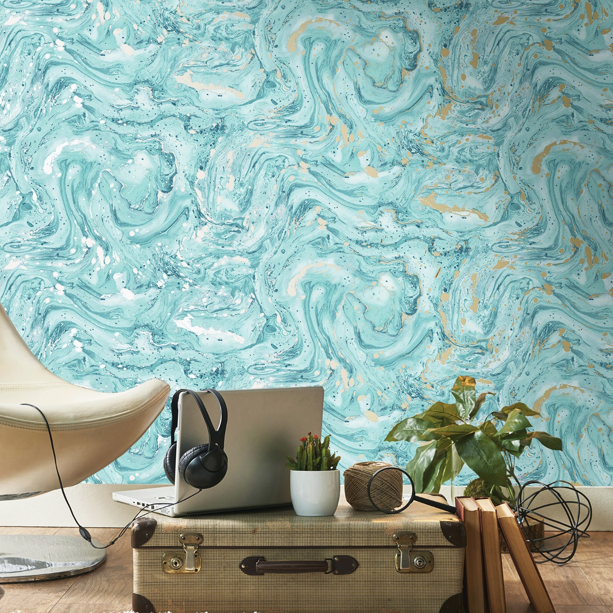 Minerals Azurite Marble Wallpaper Teal / Gold Holden 90120