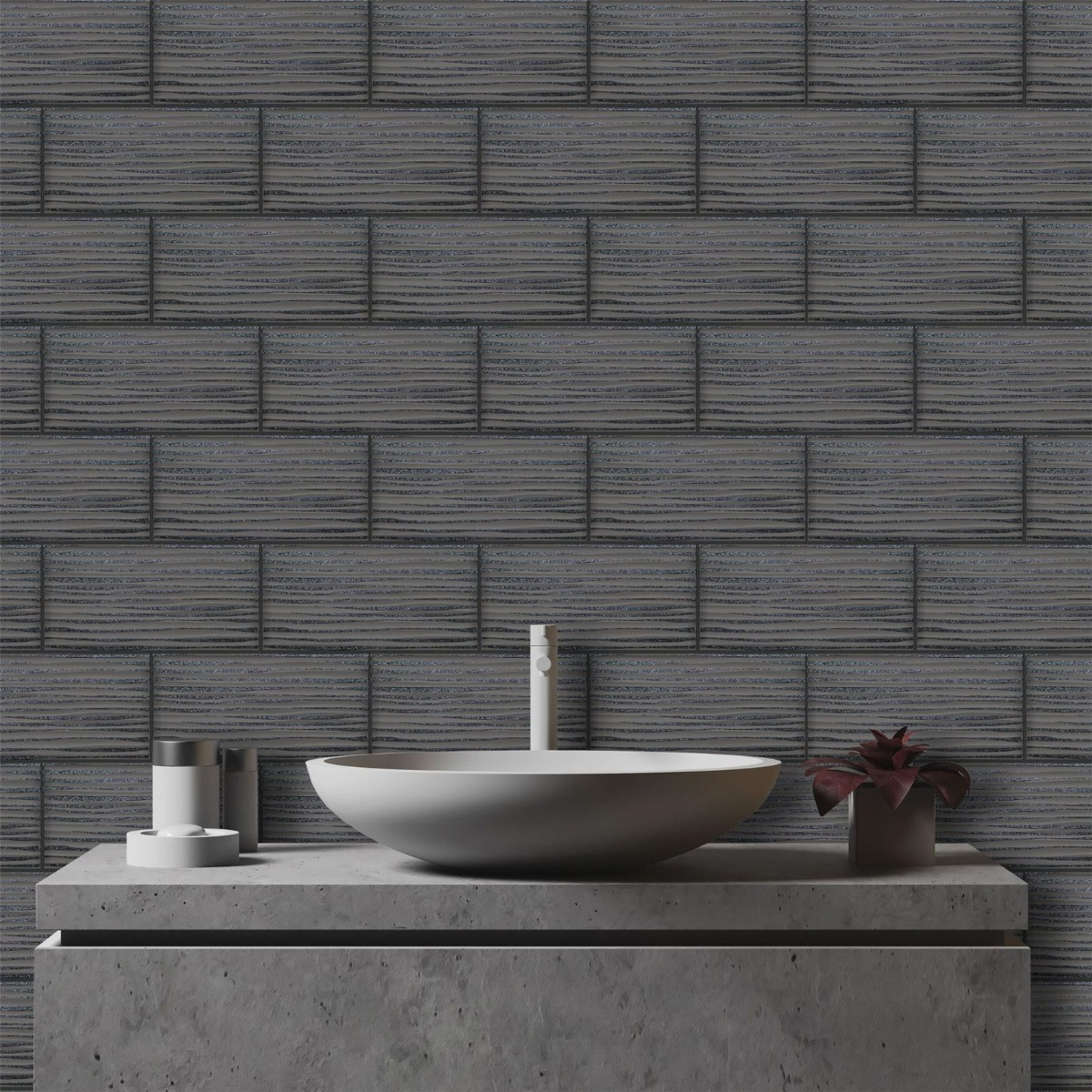 Tiling on a Roll Wave Tile Wallpaper Charcoal Holden 89322