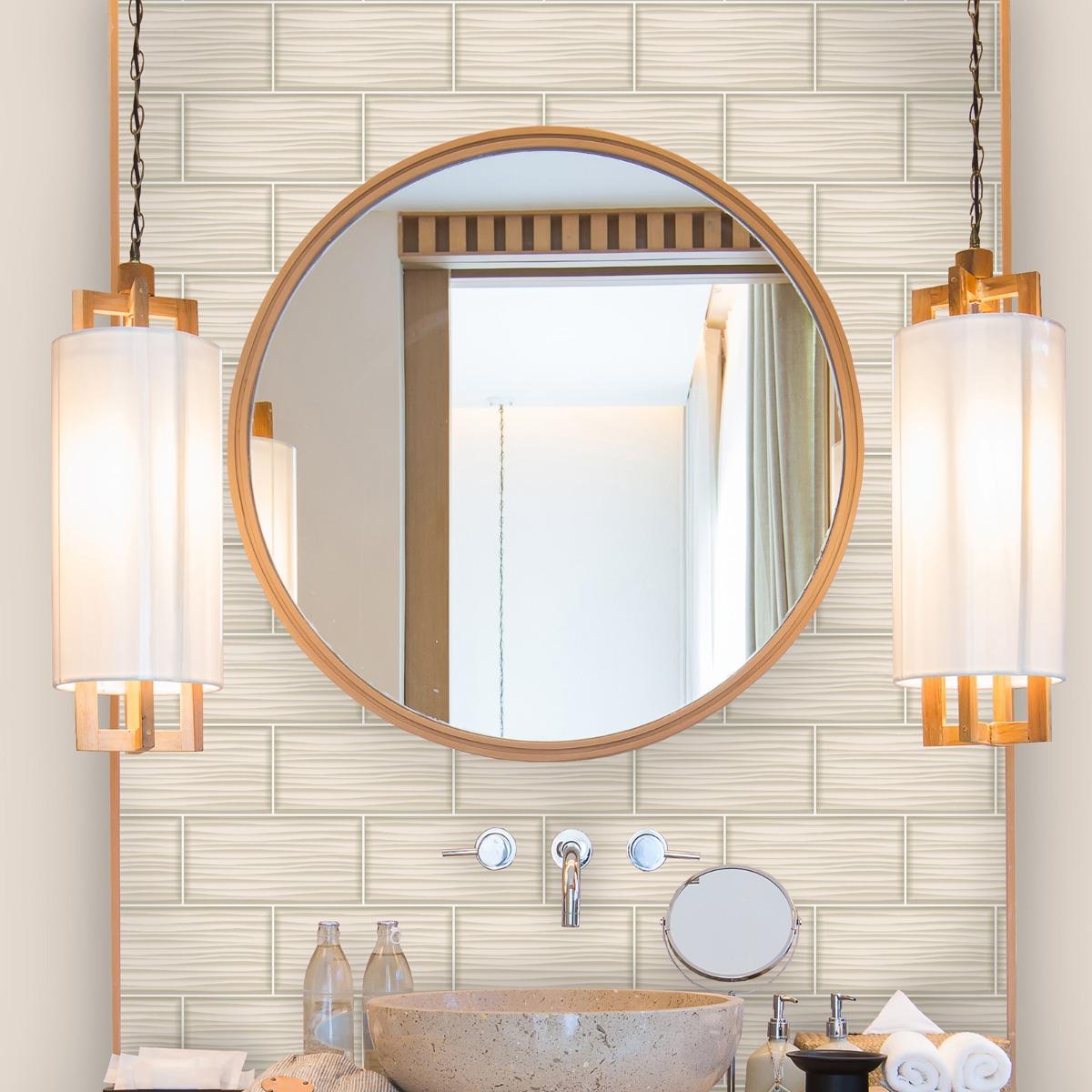 Tiling on a Roll Wave Tile Wallpaper Natural Holden 89321