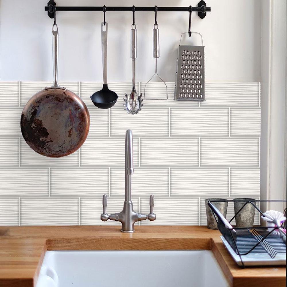 Tiling on a Roll Wave Tile Wallpaper White Holden 89320