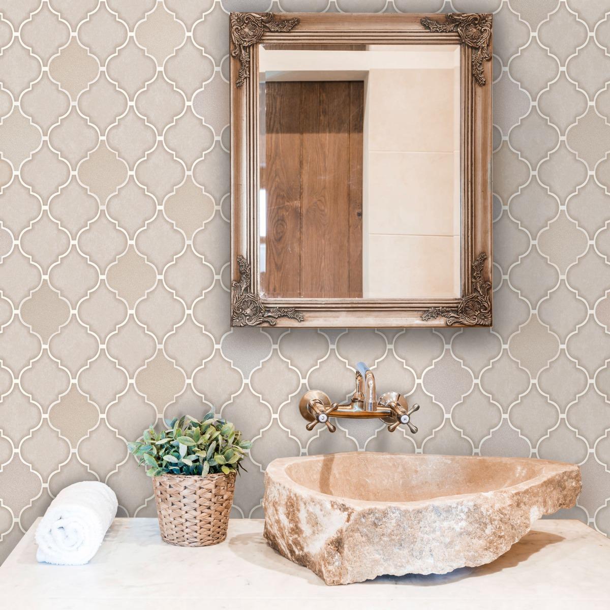 Tiling on a Roll Trellis Tile Wallpaper - Stone Holden 89310