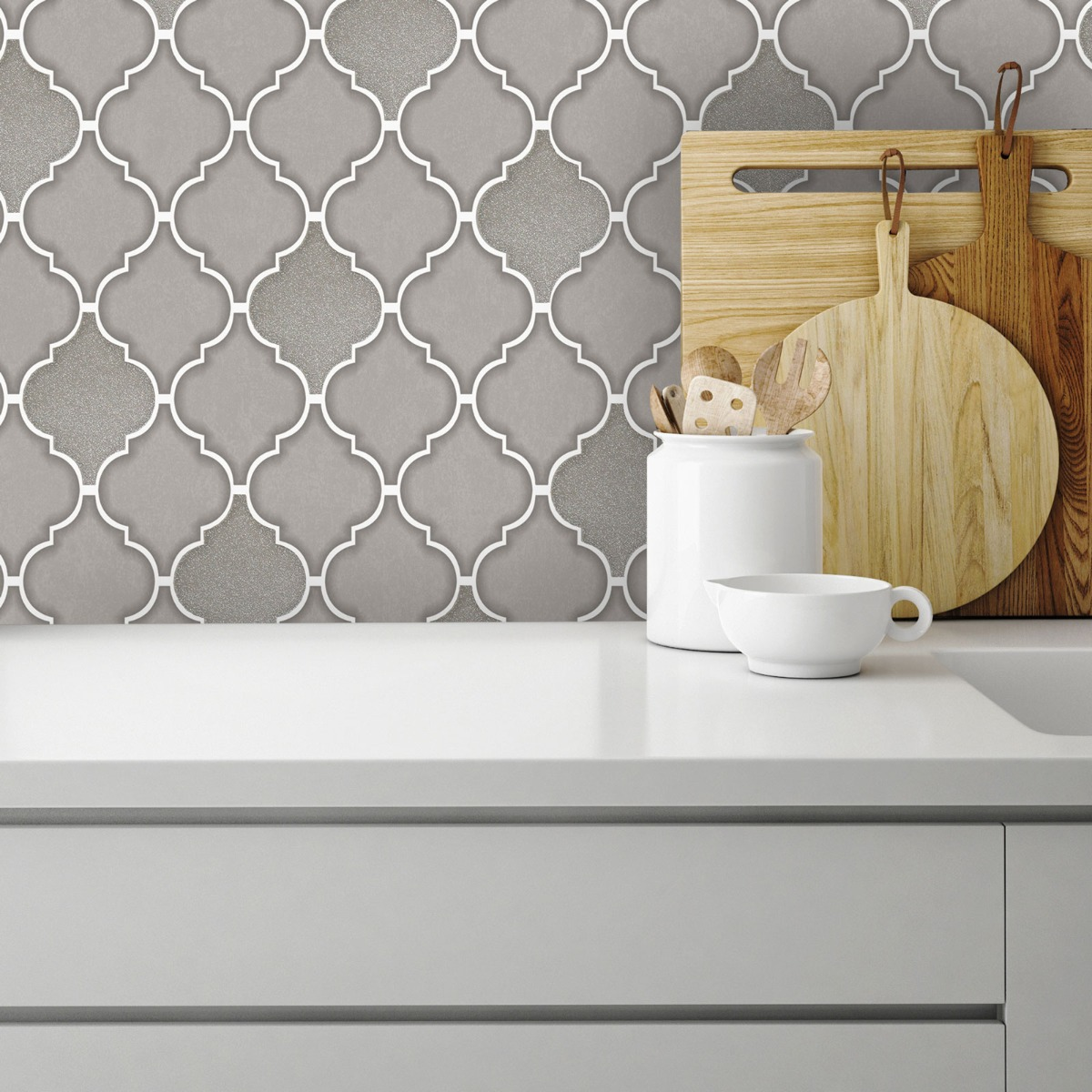 Tiling on a Roll Trellis Tile Wallpaper - Grey Holden 89311