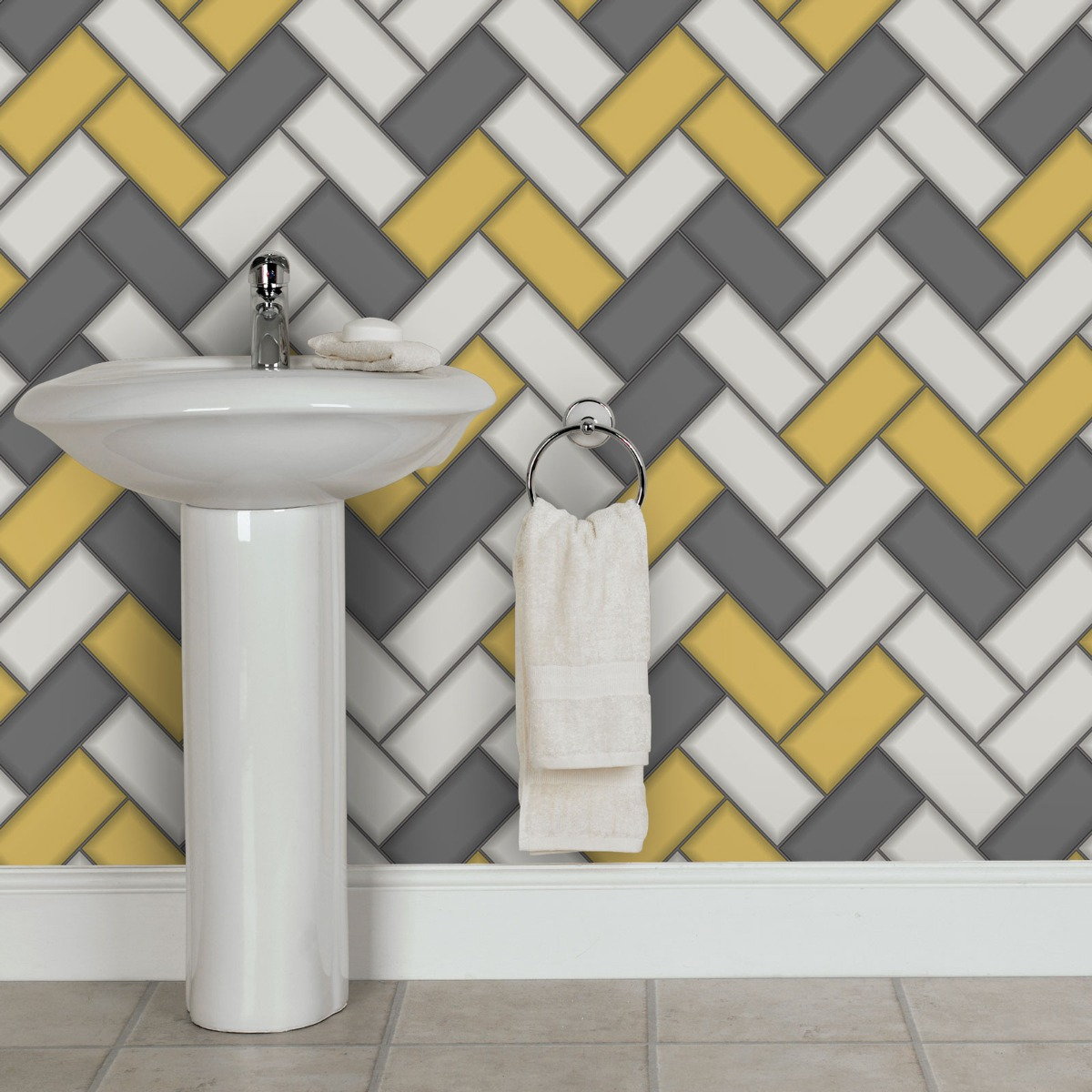 Tiling on a Roll Chevron Tile Wallpaper - Yellow Holden 89300