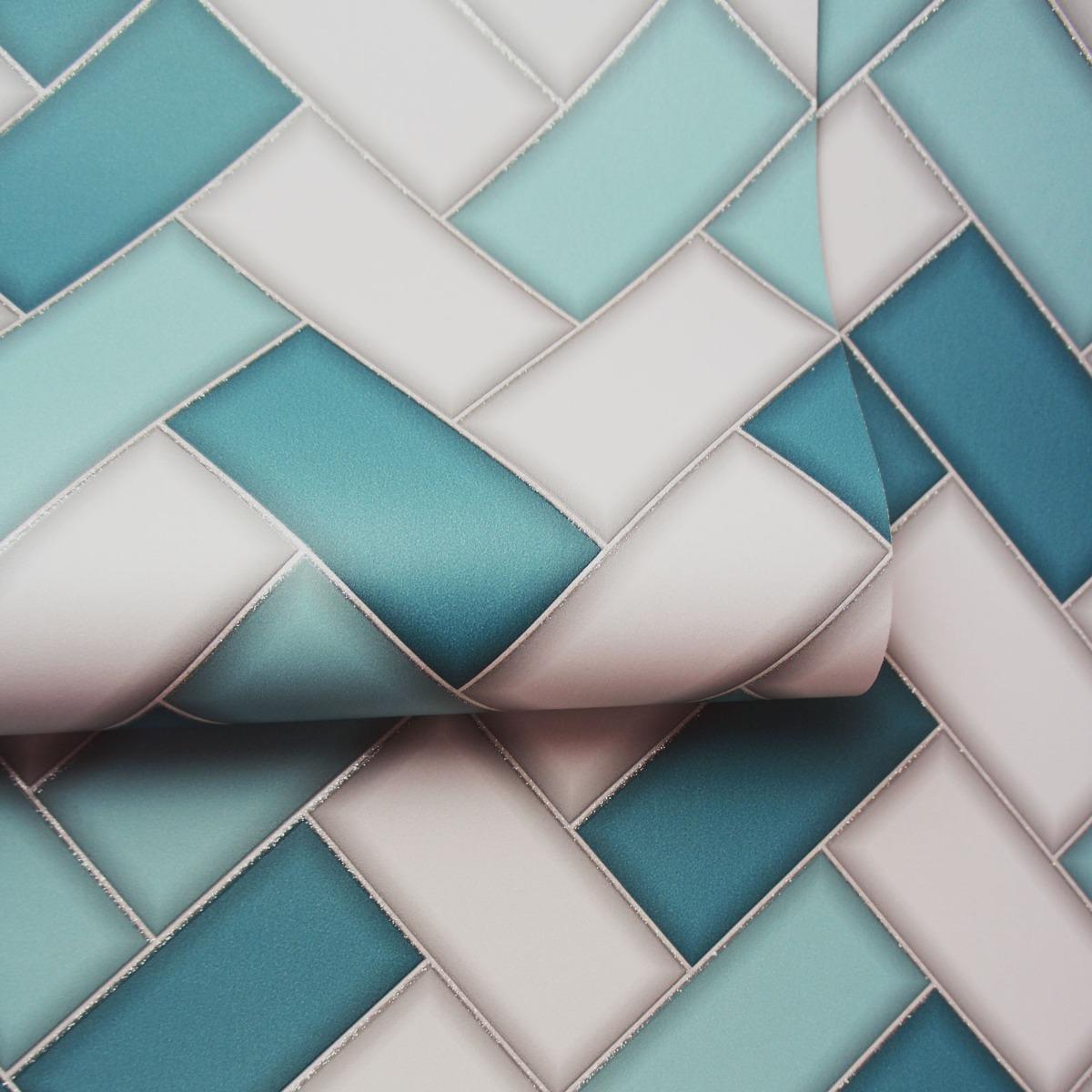 Tiling on a Roll Chevron Tile Wallpaper - Teal Holden 89301