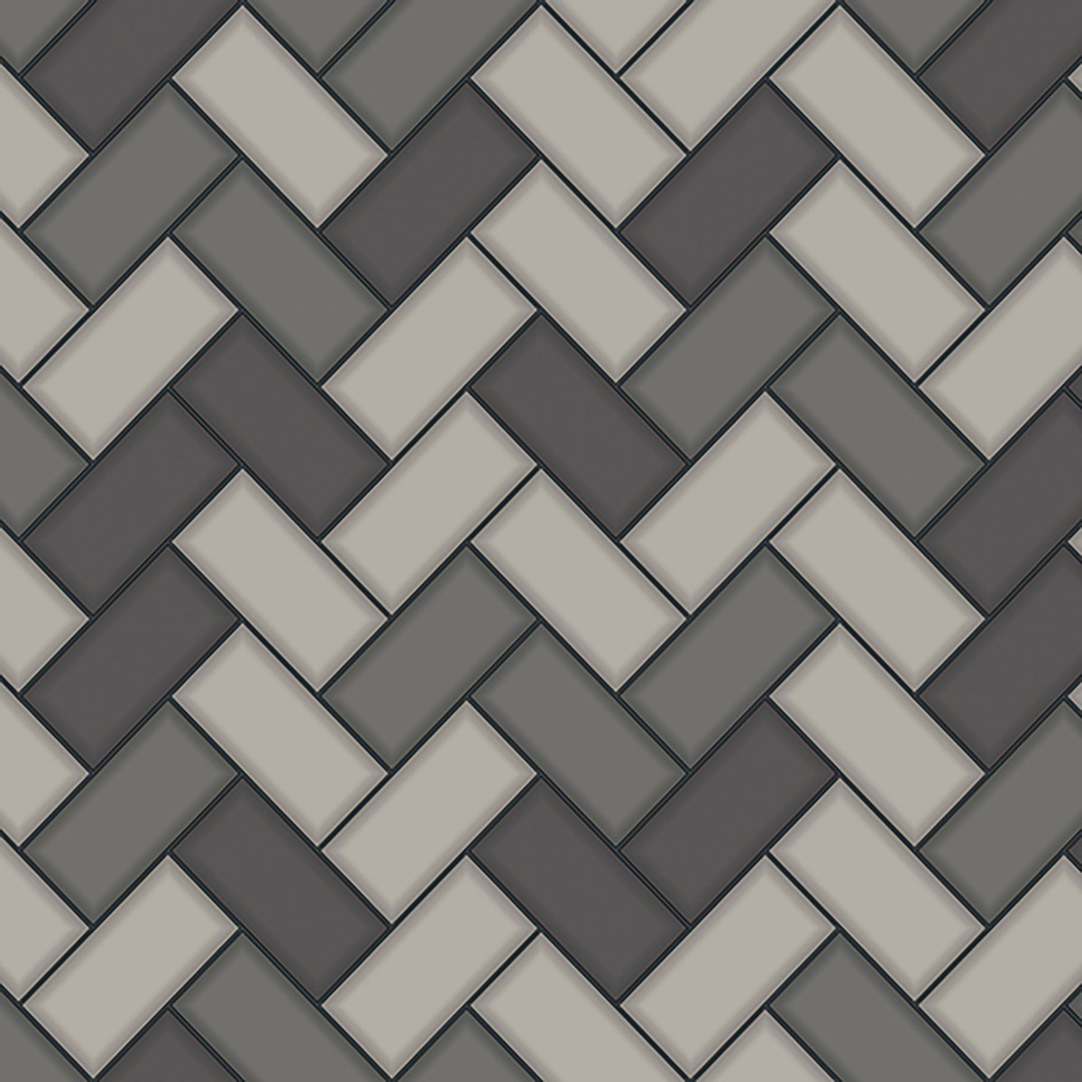 Tiling on a Roll Chevron Tile Wallpaper - Charcoal Holden 89302
