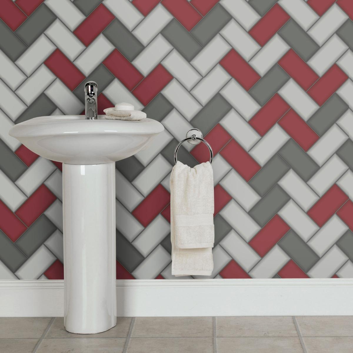 Tiling on a Roll Chevron Tile Wallpaper - Red Holden 89303