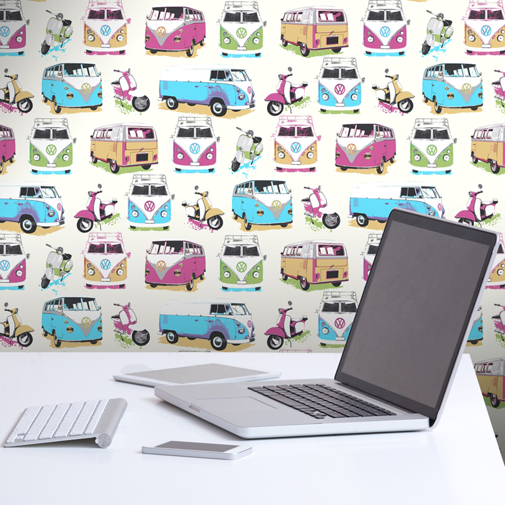 VW Campervans and Scooters Wallpaper Muriva J05901
