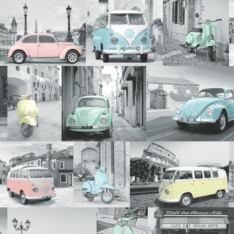 VW Volkswagen Collage Wallpaper Pastel Muriva 102563