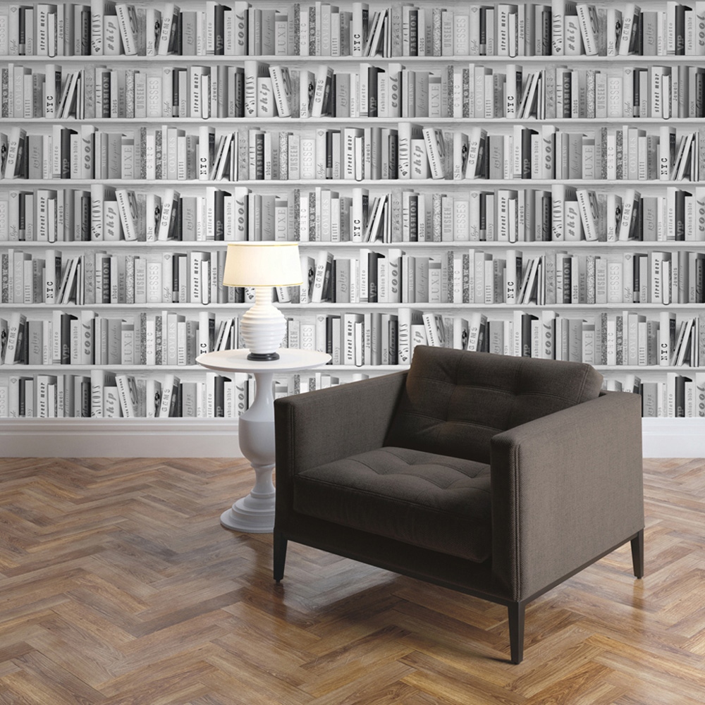 Fashion Library Bookcase Wallpaper Silver Muriva 139502