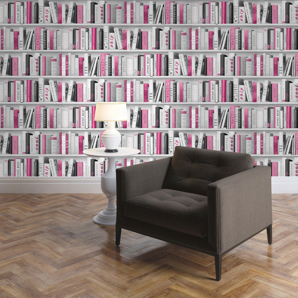 Fashion Library Bookcase Wallpaper Pink Muriva 139501