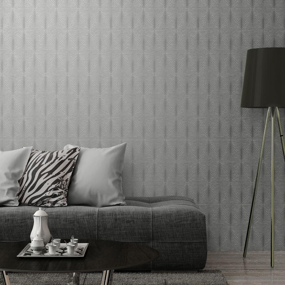 Solitaire Geometric Wallpaper Grey Muriva