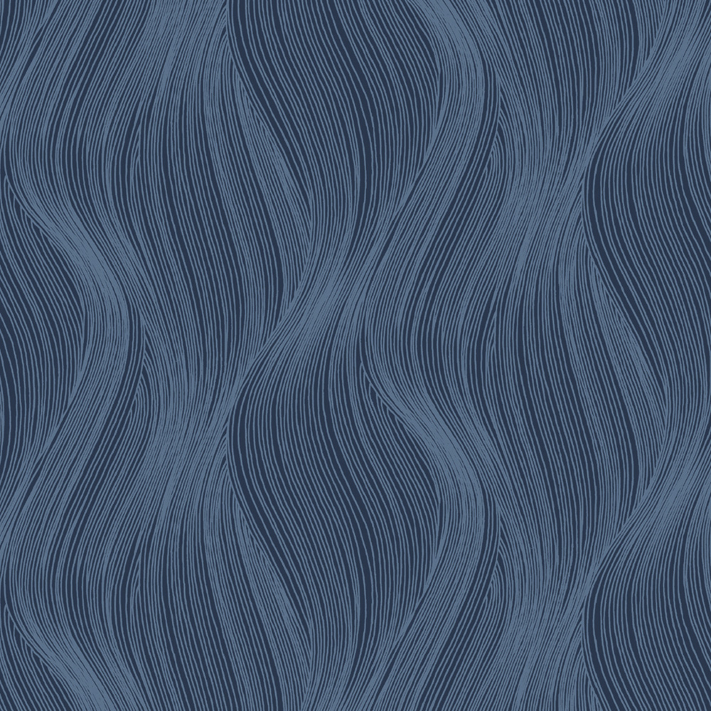 Orla Wave Glitter Wallpaper Blue Muriva 153105