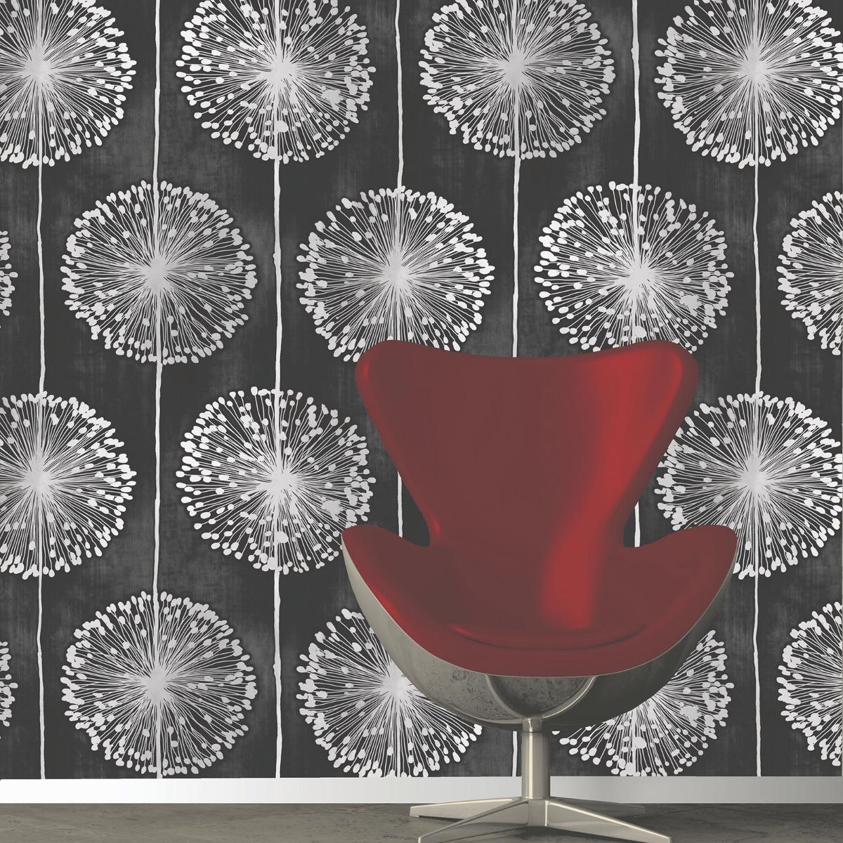 Dandelion Wallpaper Black Muriva J04219