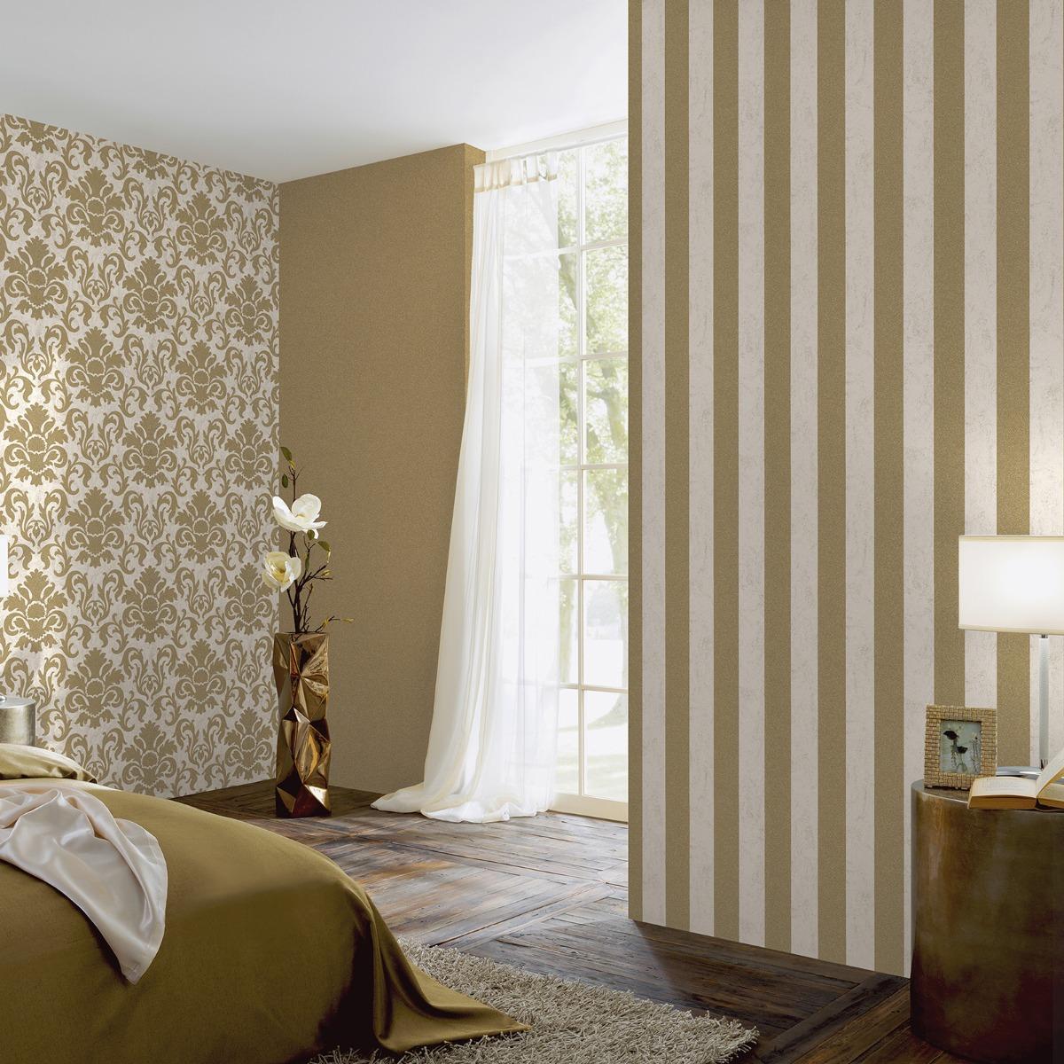 Carat Glitter Stripe Wallpaper Cream and Gold