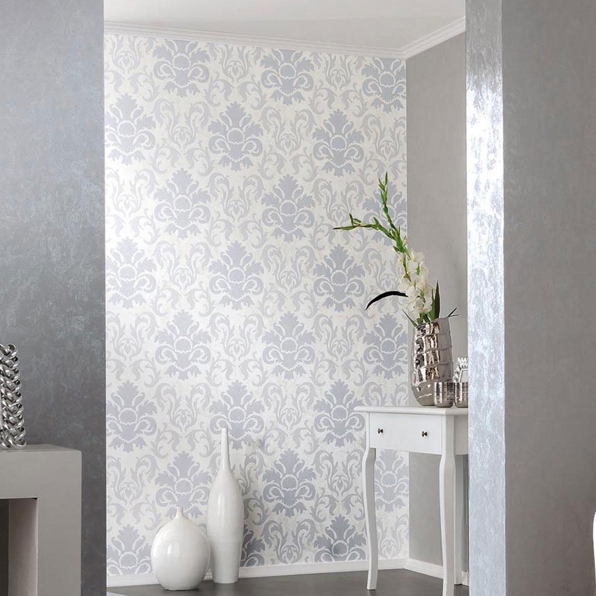Carat Damask Glitter Wallpaper Silver and White