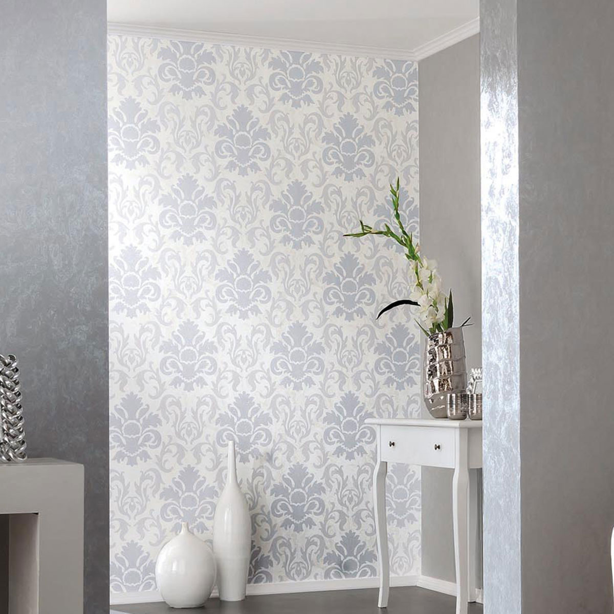 Carat Damask Glitter Wallpaper Silver and White P+S 13343-20