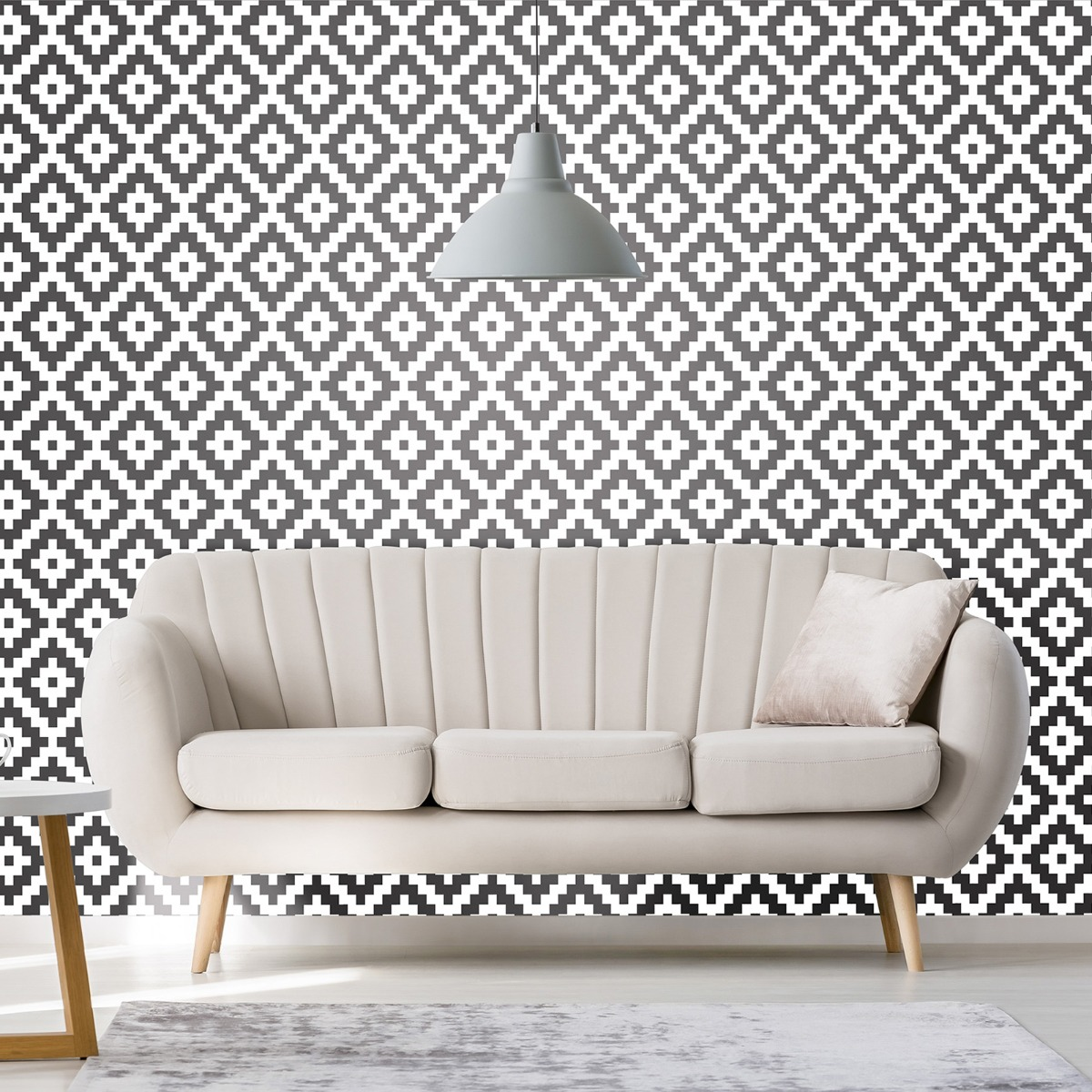 Aztec Diamond Geo Wallpaper Black / White P+S 18194-10