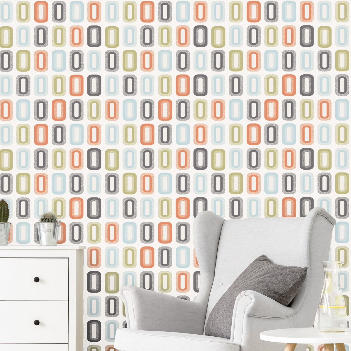 Geometric Retro Blocks Wallpaper Orange / Green P+S 18190-40