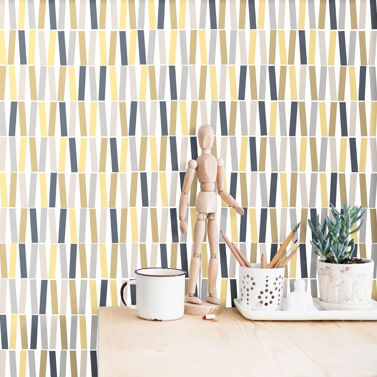 Geometric Sticks Wallpaper Yellow / Grey P+S 18191-30