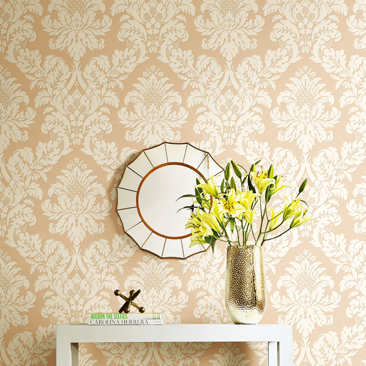 Glitter Damask Wallpaper Rose Gold / Blush Pear Tree