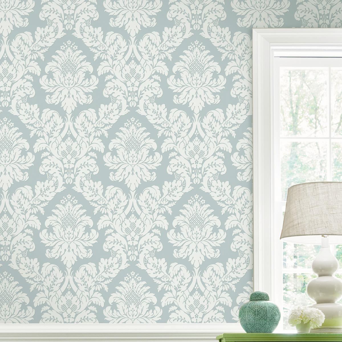 Glitter Damask Wallpaper Teal / White Pear Tree