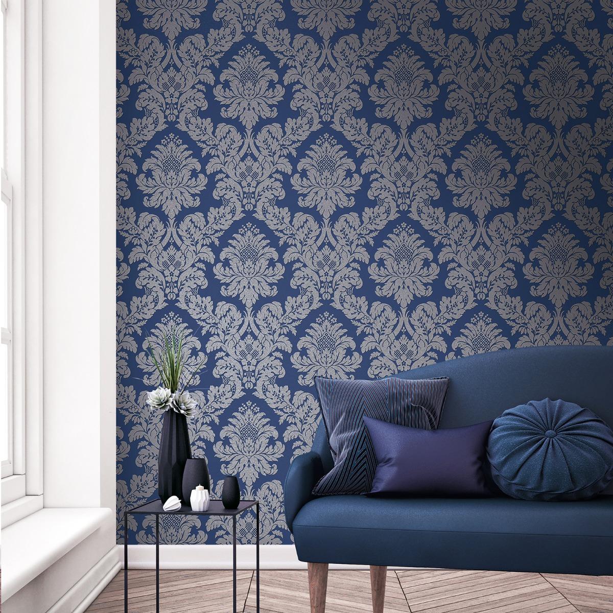 Glitter Damask Wallpaper Blue / Silver Pear Tree
